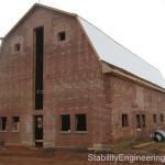 Historic barn exterior during restoration